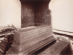 Tatta, Karachi District, Sindh. Diwan Shurfakhan's ornamental tombstone within, from back
